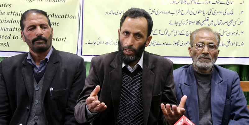 Jammu and Kashmir Awami Forum addressing a press conference in Srinagar. -Excelsior/Shakeel