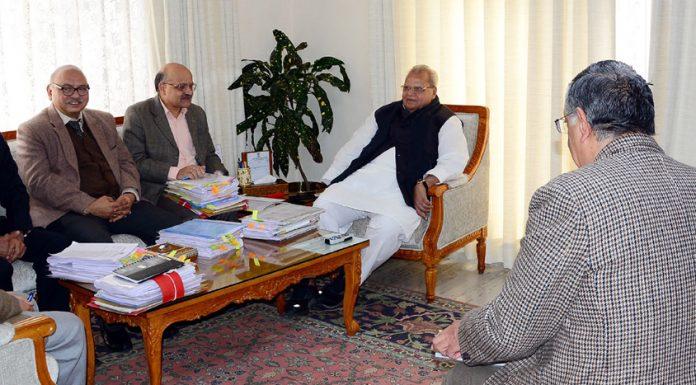 Governor Satya Pal Malik chairing the SAC meeting in Jammu on Thursday.
