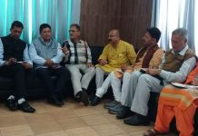 Former Deputy CM Kavinder Gupta during a meeting with BJP leaders at Jammu on Tuesday.