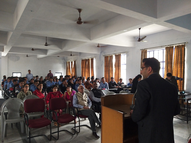 A speaker addressing students during a workshop on computer networking and hardware on Tuesday.