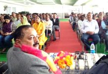 Union Minister Dr Jitendra Singh during a meeting with BJP activists in Kathua on Tuesday.