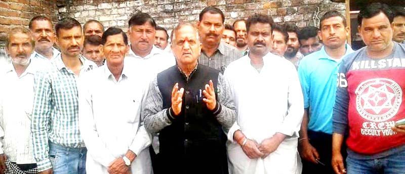 National Mazdoor Conference (NMC) leader, Subash Shastri during a meeting of workers in R.S Pura on Tuesday.