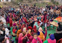 Ex-MP Ch Lal Singh addressing a public meeting in Billawar on Tuesday.