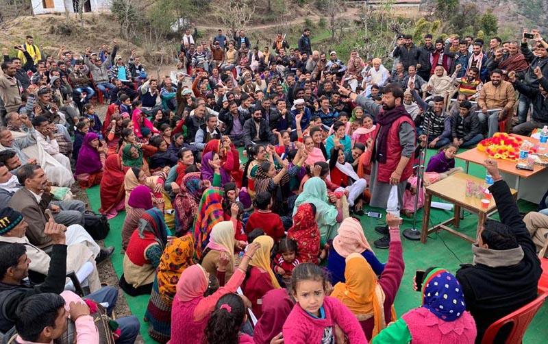 Ex-MP Ch Lal Singh addressing a public meeting in Billawar on Tuesday.