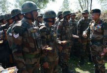 GOC 9 Corps Lt Gen JS Nain inter-acting with troops at Tiger Division Headquarters in Jammu on Wednesday.