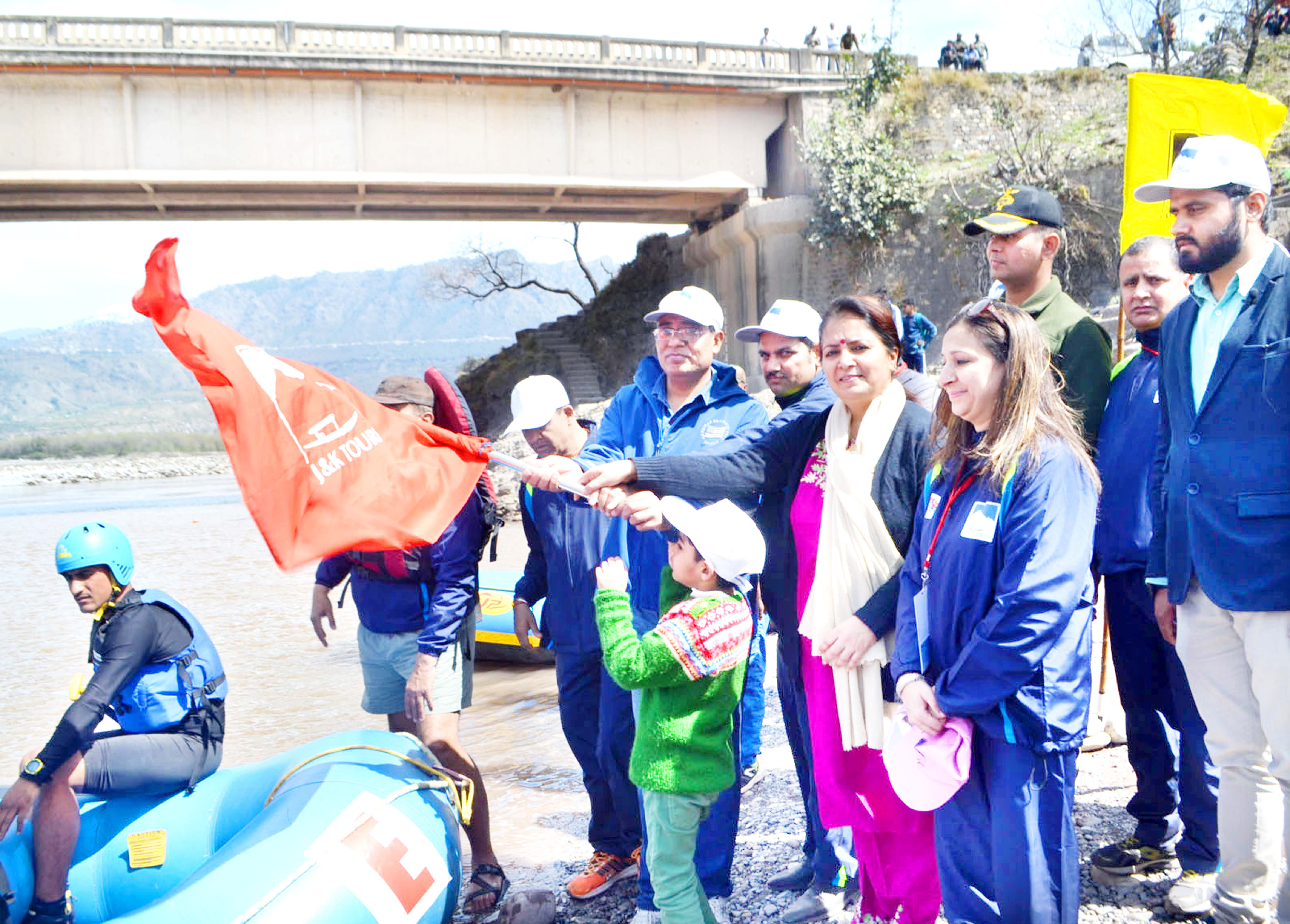 Rafters being flagged off by dignitaries at Reasi on Saturday.