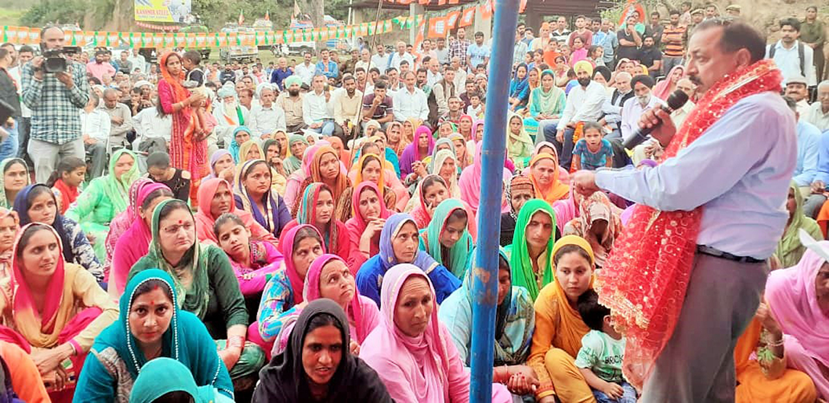 Union Minister Dr Jitendra Singh conducting a series of Panchayat-level election meetings at various spots in the Reasi Assembly segment, on Saturday.