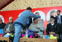 NC leader and former CM Omar Abdullah during a party function on Monday.