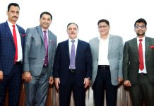 Chairman J&K Bank Parvez Ahmed and others during seminar at Jammu on Monday.
