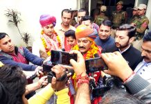 Vikramaditya Singh talking to media persons after filing his nomination on Monday.