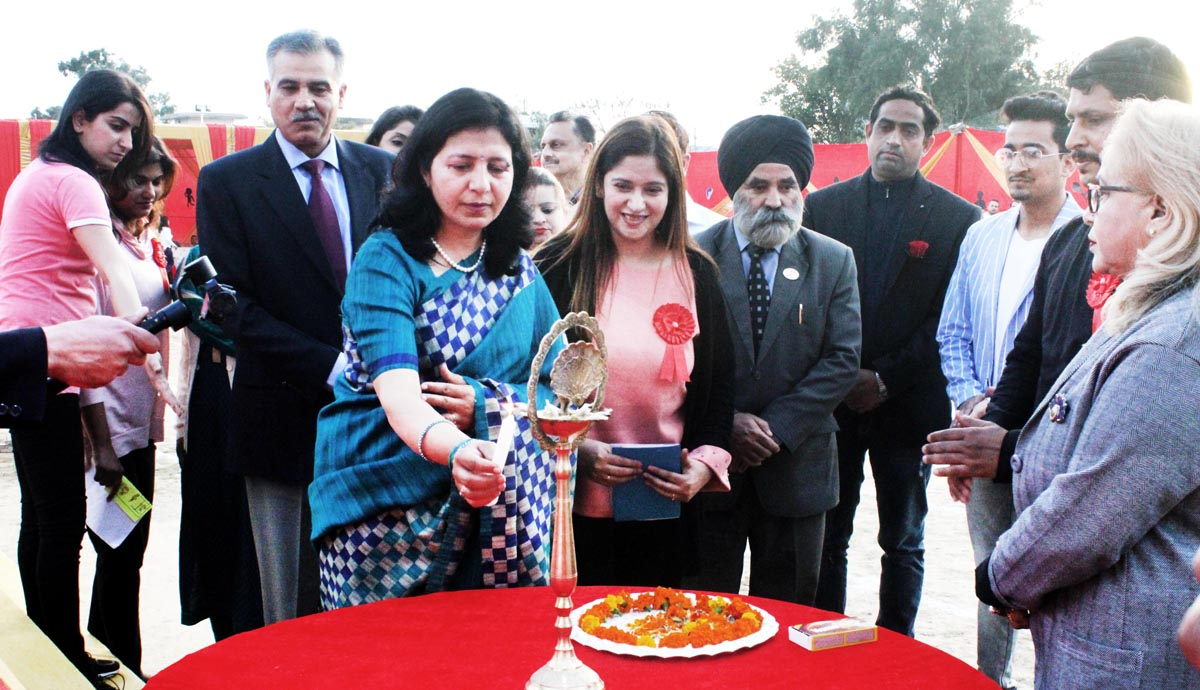 Dignitaries and the Management during Annual Sports Day celebration at Cinosural International School in Jammu.