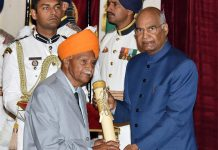 President, Ram Nath Kovind presenting Padma Shri Award to Narsingh Dev Jamwal, at Civil Investiture Ceremony-II, at Rashtrapati Bhavan, in New Delhi on Saturday.