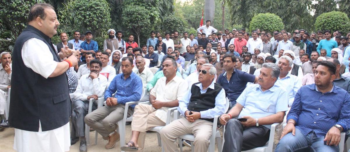 NC Provincial President Devender Singh Rana addressing public meeting in Nagrota on Thursday.