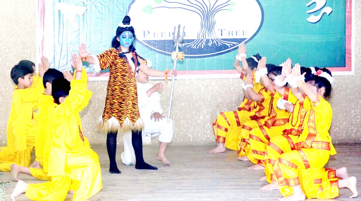 Students presenting cultural item during Annual Day celebration of Peepal Tree School in Jammu.