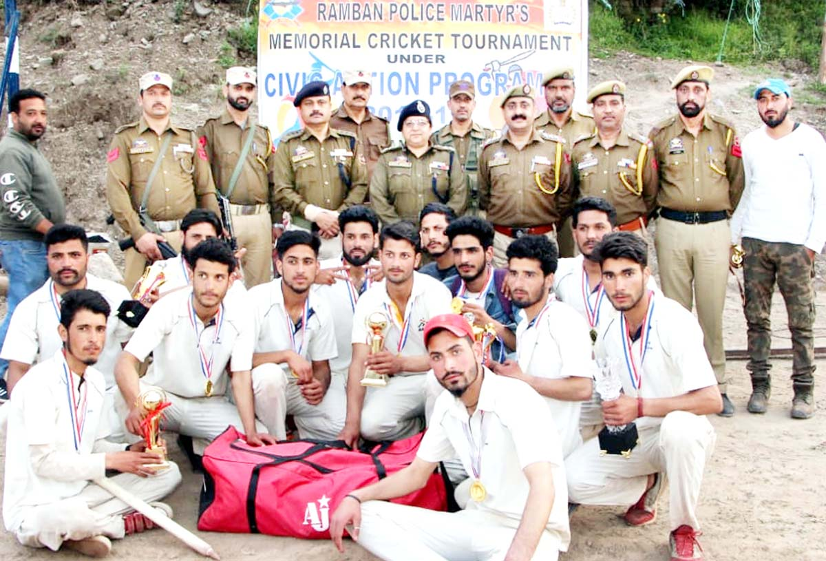 Winners posing along with dignitaries and officials at Ramban. -Excelsior/Parvez