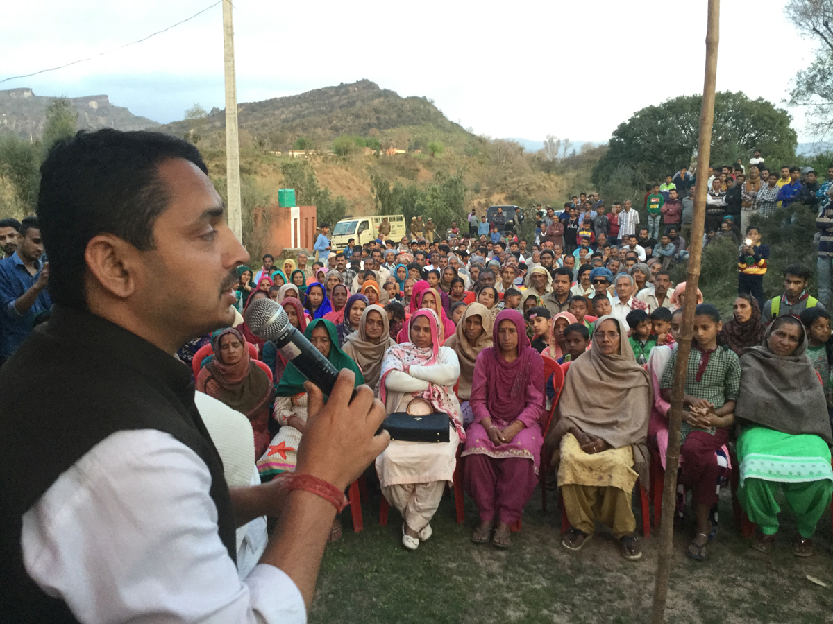 BJP spokesperson and ex-MLA R S Pathania addressing an election meeting at Ramgarh on Thursday.