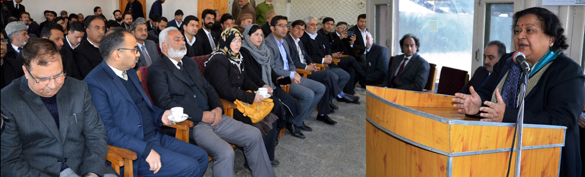 Chief Justice, Gita Mittal addressing a gathering after inaugurating Vulnerable Witness Deposition Complex in Srinagar on Saturday.