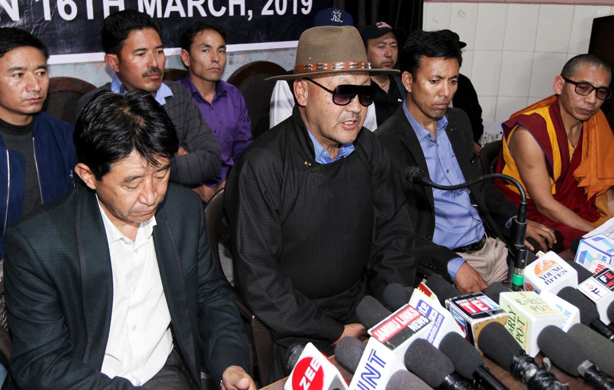 Representatives of LBA Zanskar at a press conference at Jammu on Saturday. -Excelsior/Rakesh