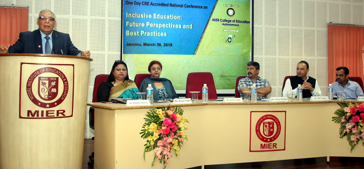 A resource person speaking during a MIER organized National Conference on Inclusive Education at Jammu on Saturday.