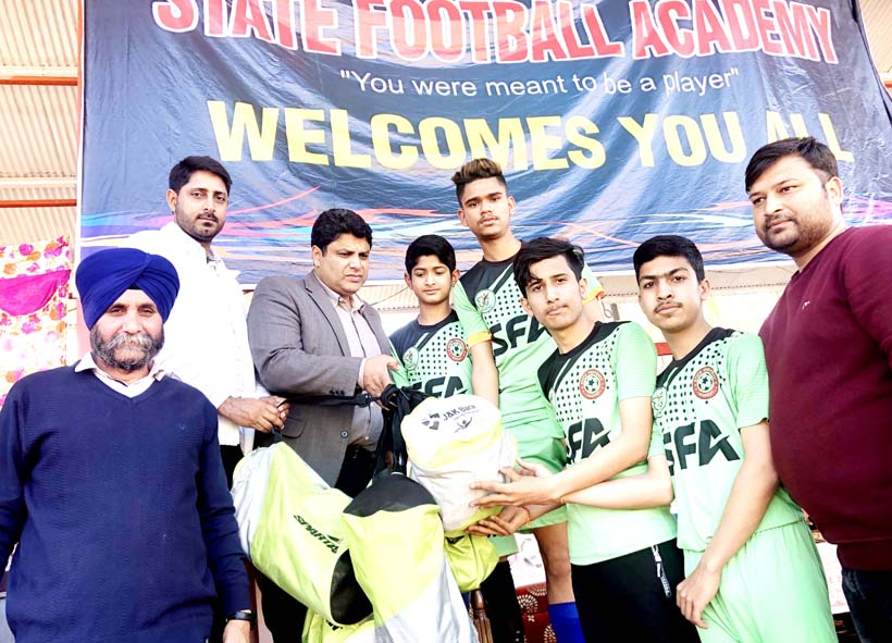 Football Kits being distributed by Administrative Secretary Sarmad Hafeez in Jammu on Thursday.