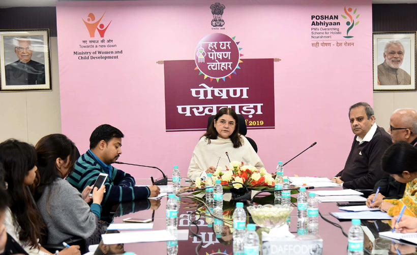 Union Minister for Women and Child Development, Maneka Sanjay Gandhi addressing the press conference on Poshan Abhiyan, in New Delhi on Friday.