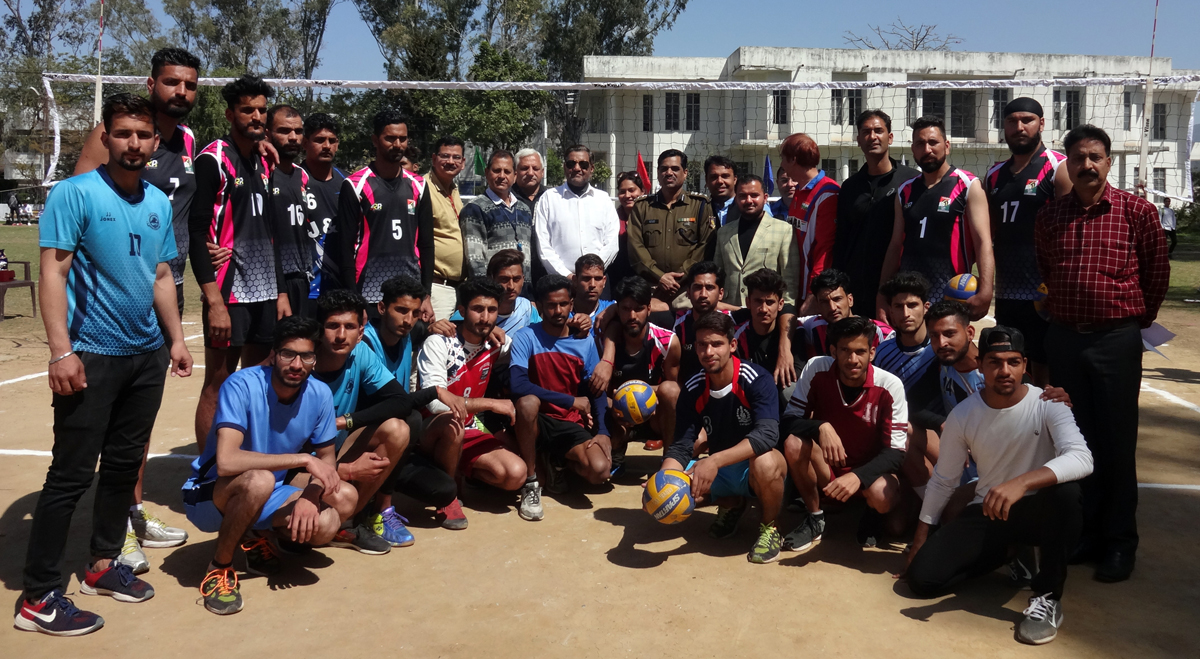 Volleyball teams posing for a group photograph at GDC Udhampur on Friday.