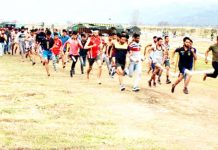 Youth appearing in physical fitness test during Army recruitment rally in Poonch on Tuesday.