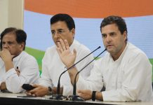 Congress president Rahul Gandhi addressing a press conference in New Delhi on Monday. (UNI)