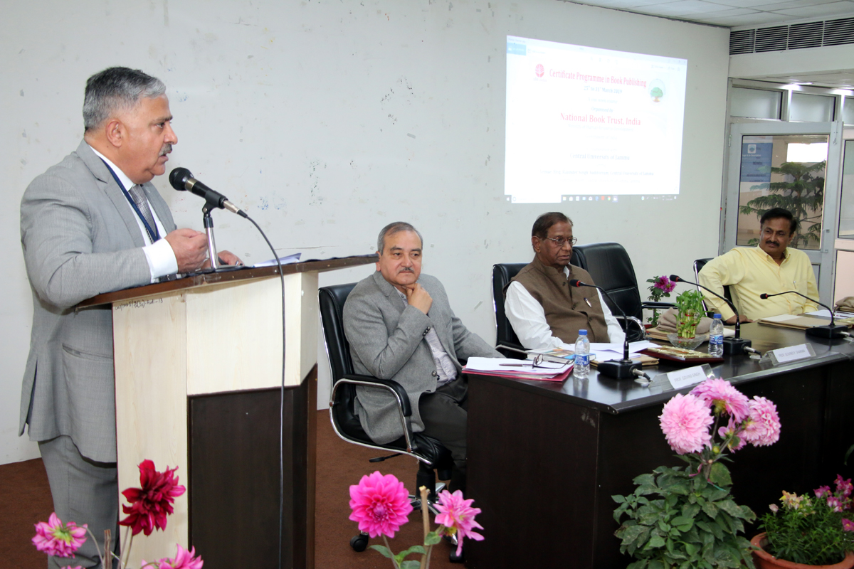 CUJ VC delivering his remarks on book publishing course.
