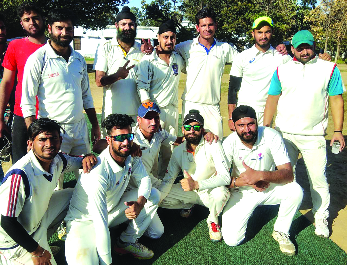 Players of A Horizon Cricket Club posing for a photograph after winning T20 title in Jammu.