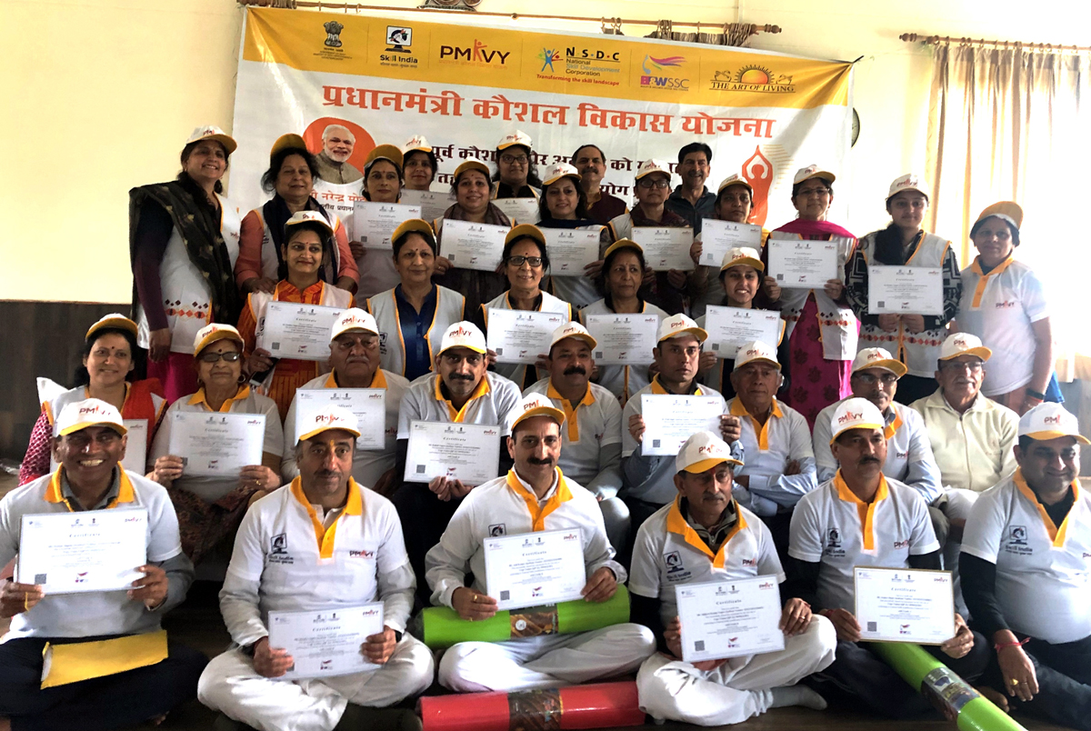 PMKVY RPL Yoga Trainers after getting certificates at Jammu on Monday.