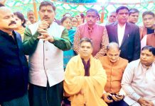 MP, Jugal Kishore Sharma addressing a gathering after inaugurating party election office at Bakshi Nagar on Tuesday.
