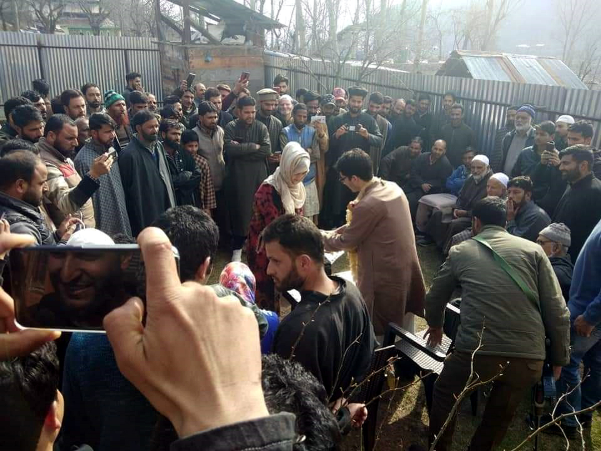 Shah Faesal meeting people at Kupwara on Monday.