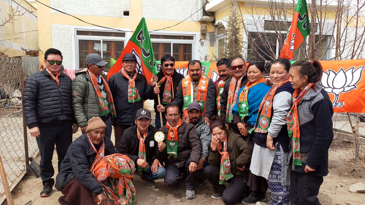 BJP leader Vikram Randhawa during a party campaign in Leh on Monday.