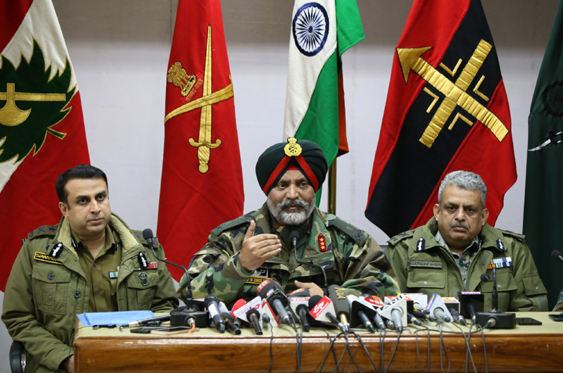 Army, J&K Police and CRPF officers addressing a joint press conference in Srinagar on Monday. -Excelsior/Shakeel