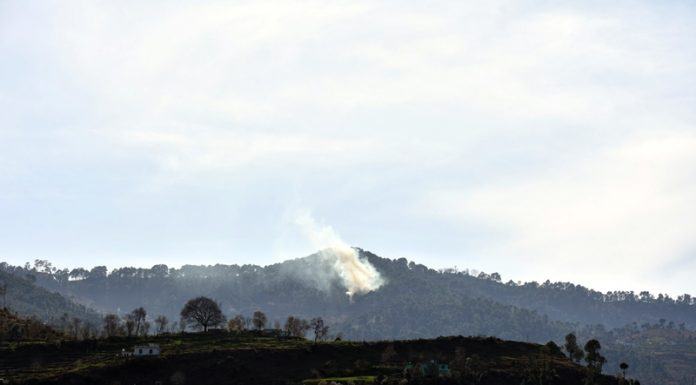 A mortar shell fired by Pakistan explodes on LoC in Mendhar sector on Friday. -Excelsior/Rahi Kapoor