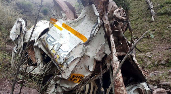 Wreckage of Tempo Traveller which met with an accident near Chillad in Reasi on Friday.