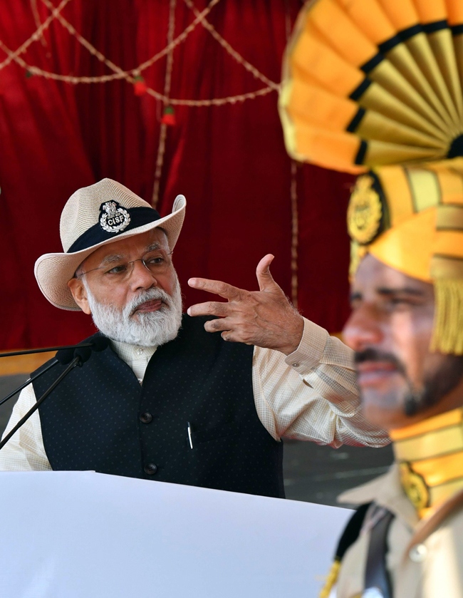 Prime Minister Narendra Modi addressing the CISF personnel at the 50th Raising Day ceremony of CISF at Ghaziabad in Uttar Pradesh on Sunday (UNI)