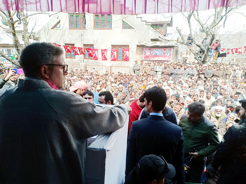 NC working president Omar Abdullah addressing a rally in Kulgam on Monday.