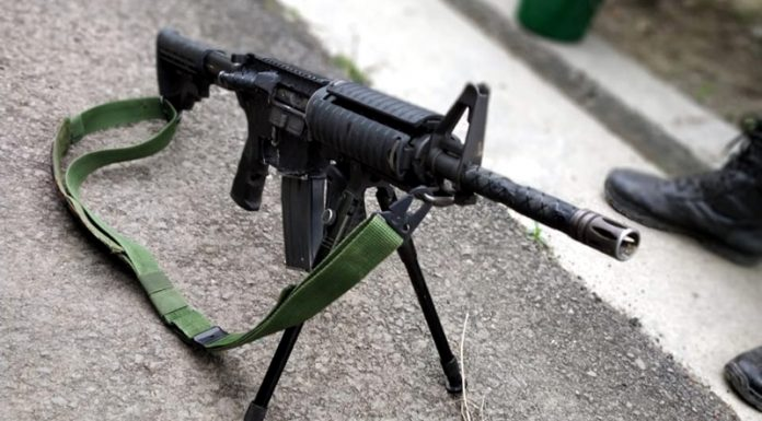 M4 sniper rifle recovered from militants at Nowgam, Budgam on Friday.