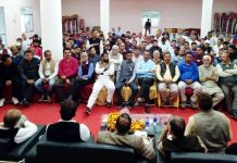 Union Minister Dr Jitendra Singh addressing BJP office bearers meeting at Hiranagar on Monday.
