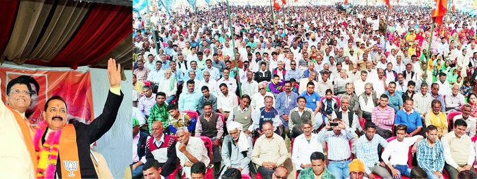 Union Ministers, Piyush Goyal and Dr Jitendra Singh waving to crowd at an election rally in Kathua on Friday. -Excelsior/Pardeep