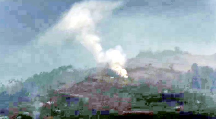 A mortar shell fired by Pakistan army explodes in Mankote sector of Poonch on Friday. - Excelsior/Rahi Kapoor