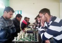 Players in action during Poonch District Chess Championship on Tuesday.