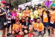 JRG members posing for a group photograph after excelling in Bathinda Half Marathon on Sunday.