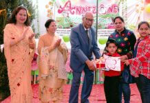 Dignitaries felicitating children during Annual Day celebration at Annizone 'Meadow of Angels', Rehari in Jammu.