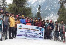 Winners of Ski Championship posing for a group photograph at Pahalgam.