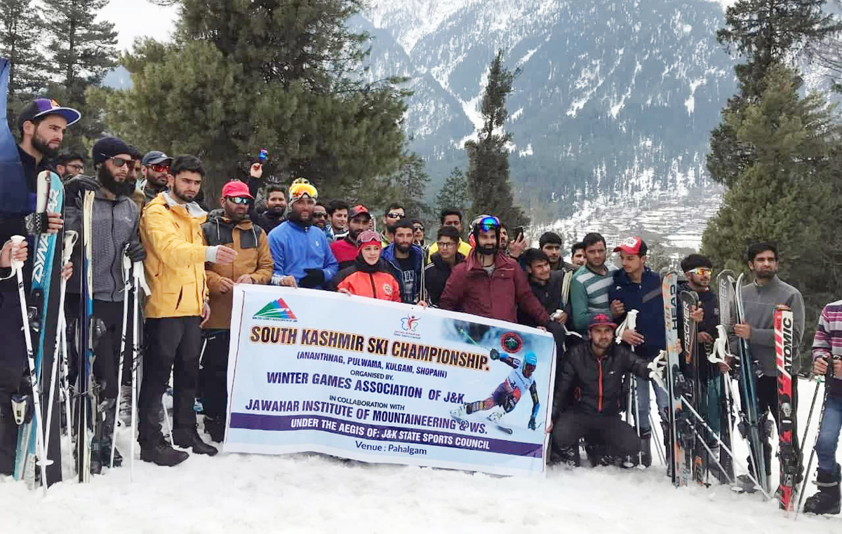 Winners of Ski Championship posing for a group photograph at Pahalgam.