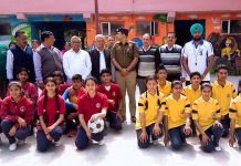 Winners of District Kathua Korfball Championship posing for a group photograph alongwith dignitaries at Hiranagar on Tuesday.