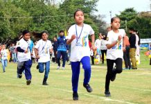 Children sweeting-it-out during Millennium Mirchi Kids Marathon in Jammu on Sunday. -Excelsior/Rakesh